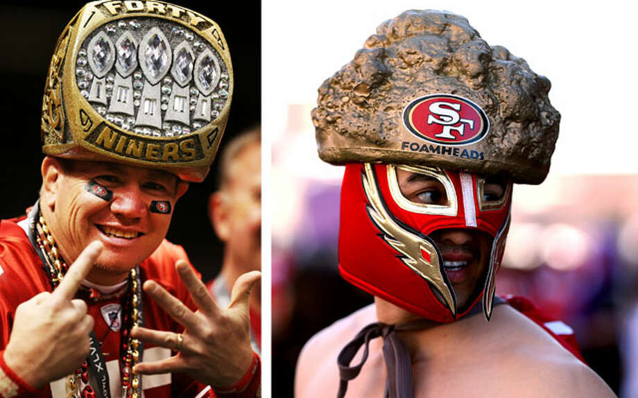 Arrogant, pompous Niners fansOK, we get it, your team has won five Super Bowls. Enough with it already. San Francisco fans are insufferable. Look at that guy (at left) wearing that Super Bowl ring hat! And what the heck is that dude (at right) wearing on his head? We know the foam hat is supposed to be a gold nugget, but it looks a lot like something that just came out of the rear end of a Great Dane. These are the same sports fans who latched on to former S.F. Giants pitcher Brian Wilson's disgusting beard. And did you see that San Francisco was recently named the snobbiest city in America? 'Nuf said. Photo: Left: Christian Peterson/Getty Images, RIght: Al Bello/Getty Images