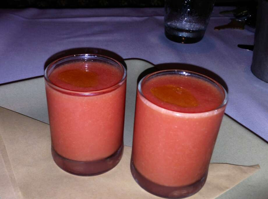 Tomato and melon gazpacho shots ($2.95)