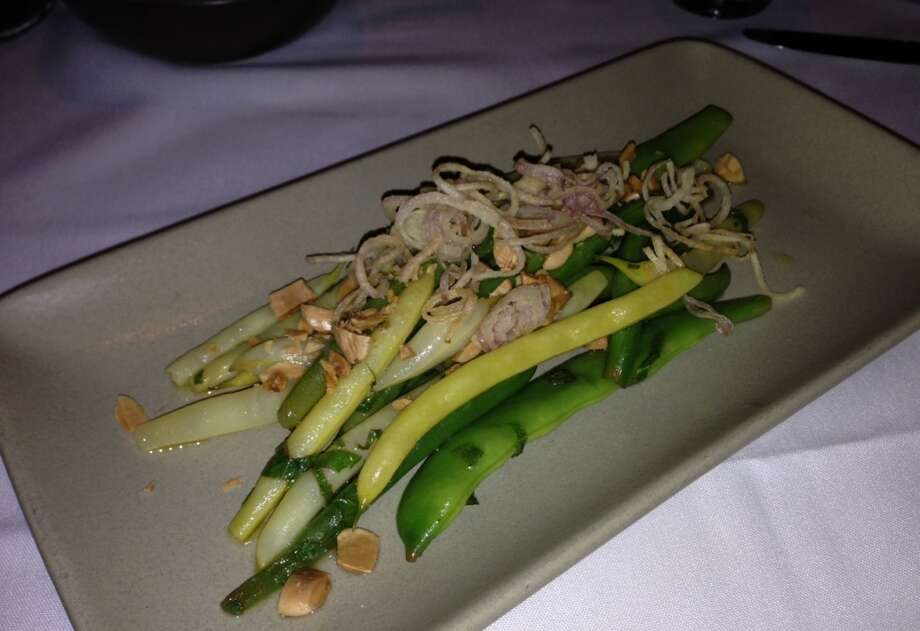 Wax, green and romano beans with mint, almonds and crisp shallots ($9.95)