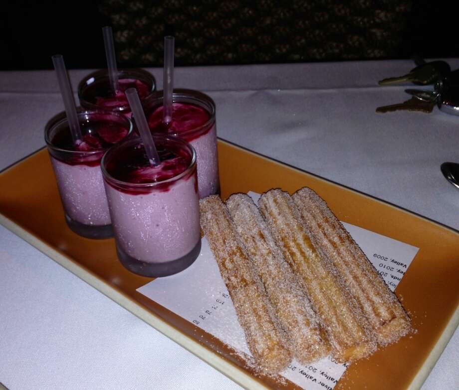 Churros with blackberry milkshakes ($9.95)