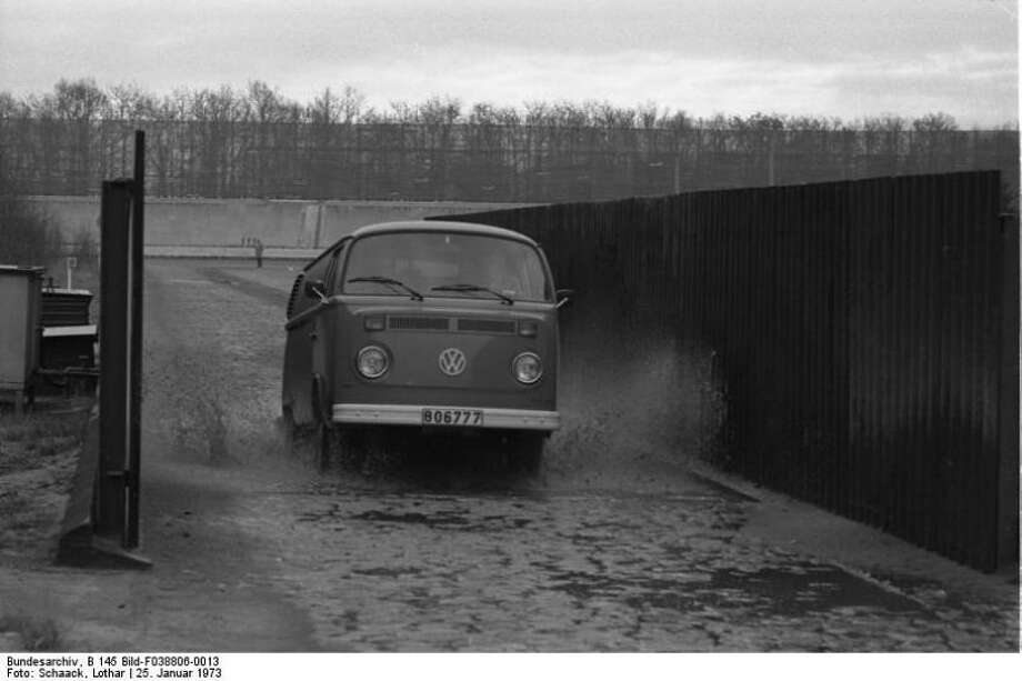 A Volkswagen Type 2 van goes through performance testing on Jan. 25, 1973, at the VW Autowerks test track in Wolfsburg, Germany. Photo: Lothar Schaak, Wikimedia Commons