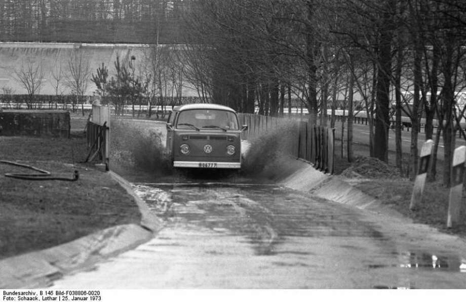 A Volkswagen Type 2 van get put through its paces Jan. 25, 1973, at the VW Autowerks test track in Wolfsburg, Germany. Photo: Lothar Schaak, Wikimedia Commons