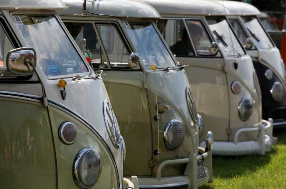 Volkswagen vans lined up at Vanfest  in Malvern Wells, England Sept. 13, 2009. Photo: Matt Cardy, Getty Images
