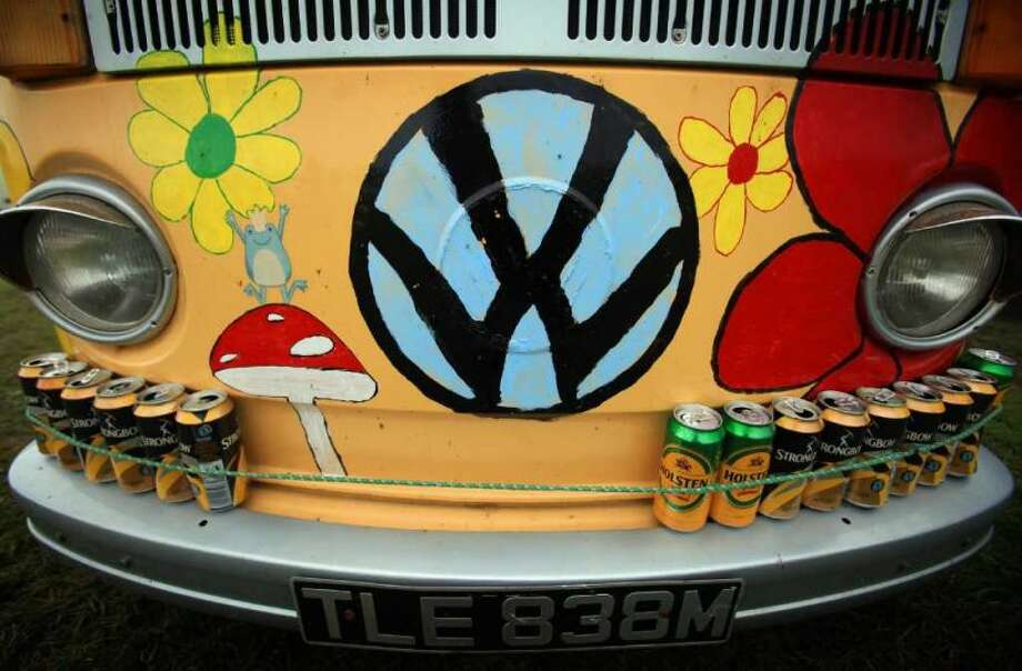 Empty cans of drink are displayed on the front of a 1970s Type 2 Volkswagen campervan at the Final Fling VW Show on October 24, 2009 in Woolacombe, England. The small gathering of Volkswagen enthusiasts at a campsite in North Devon is generally seen as the last event of the year in the annual calendar of shows that celebrate all VW's including the iconic campervan. Photo: Matt Cardy, Getty Images