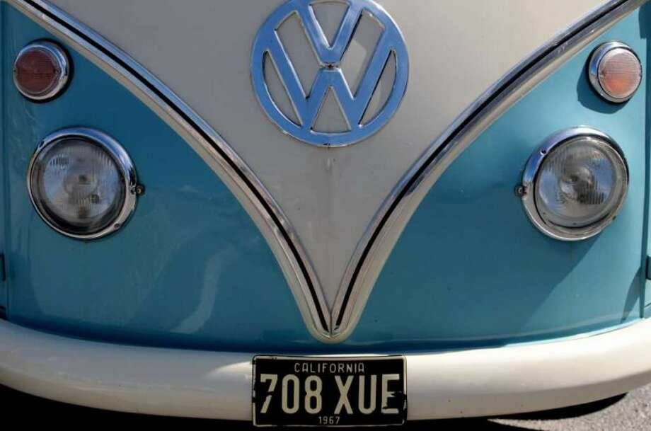 An up close and personal shot of a vintage VW microbus. Photo: Matt Cardy, Getty Images