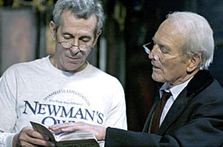 "Over his 46 years in Westport, Westport News columnist Woody Klein has seen many changes -- a theme embodied in Thornton Wilder's classic, ""Our Town."" Here, in a rehearsal photo from a 2002 production of the play at the Westport Country Playhouse, longtime Westport resident Paul Newman, right, is shown with director/actor James Naughton. Newman portrayed the Stage Manager. Photo: Contributed Photo / Westport News contributed"
