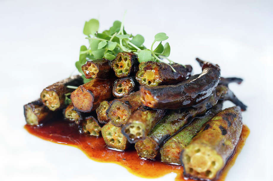 43. Restaurant Cinq Cuisine: New American Dish: charred okra with maple glaze Entree price range: $$$$ Where: 3410 Montrose Phone: 713-524-7999 Read Alison Cook's review of Restaurant Cinq. Photo: Michael Paulsen, Houston Chronicle / © 2013 Houston Chronicle