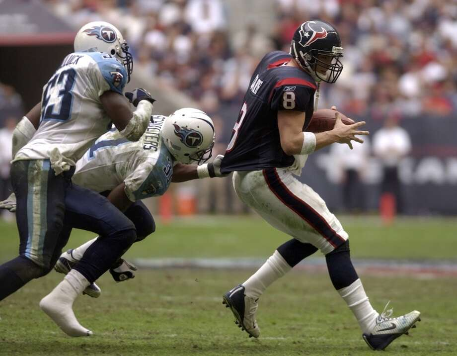 Titans 13, Texans 3 Dec. 29, 2002  David Carr passed for 214 yards, but he was sacked three times and the run game managed just 28 yards in the inaugural season-ending loss. Photo: Smiley N. Pool, Chronicle