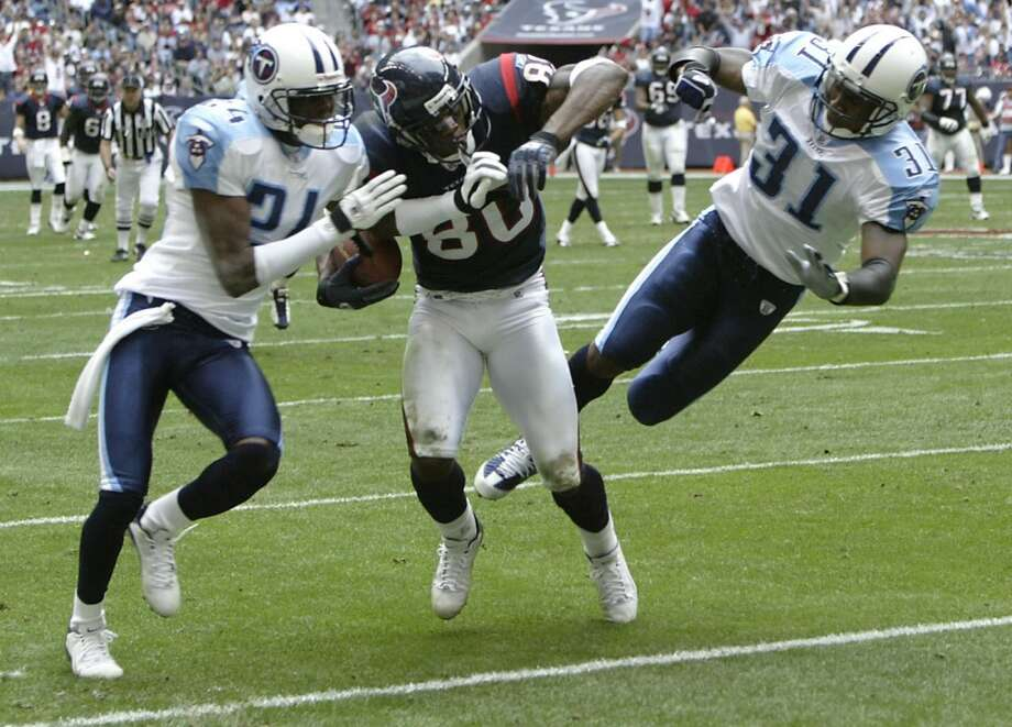Titans 27, Texans 24 Dec. 21, 2003  Rookie Andre Johnson had five catches for 108 yards and the Texans had a fourth-quarter lead until Steve McNair hooked up with Drew Bennett for the game-winning score with 17 seconds left. Photo: Josh Merwin, Chronicle
