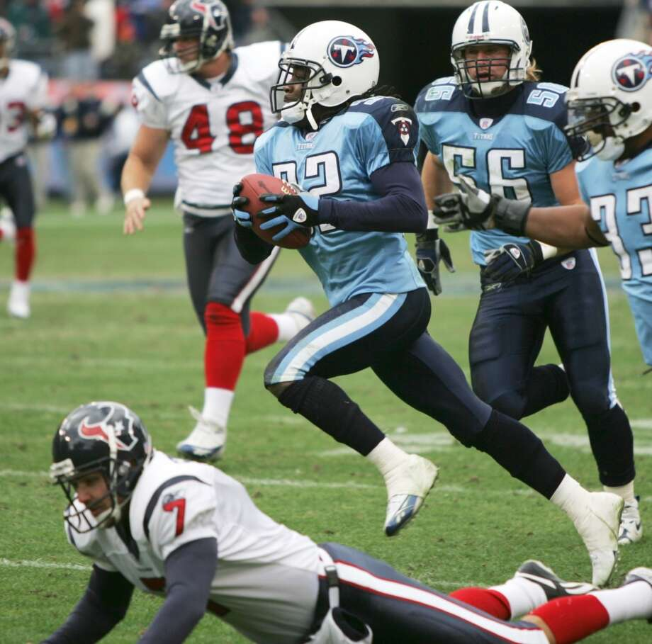"Titans 13, Texans 10 Dec. 11, 2005  David Carr is sacked six times and the Texans are shut out in the second half as Adam ""Pacman"" Jones' 52-yard punt return in the third quarter ties the game and Rob Bironas' 23-yard field goal with 10 seconds left gives the Titans the win. Photo: BRETT COOMER, HOUSTON CHRONICLE"