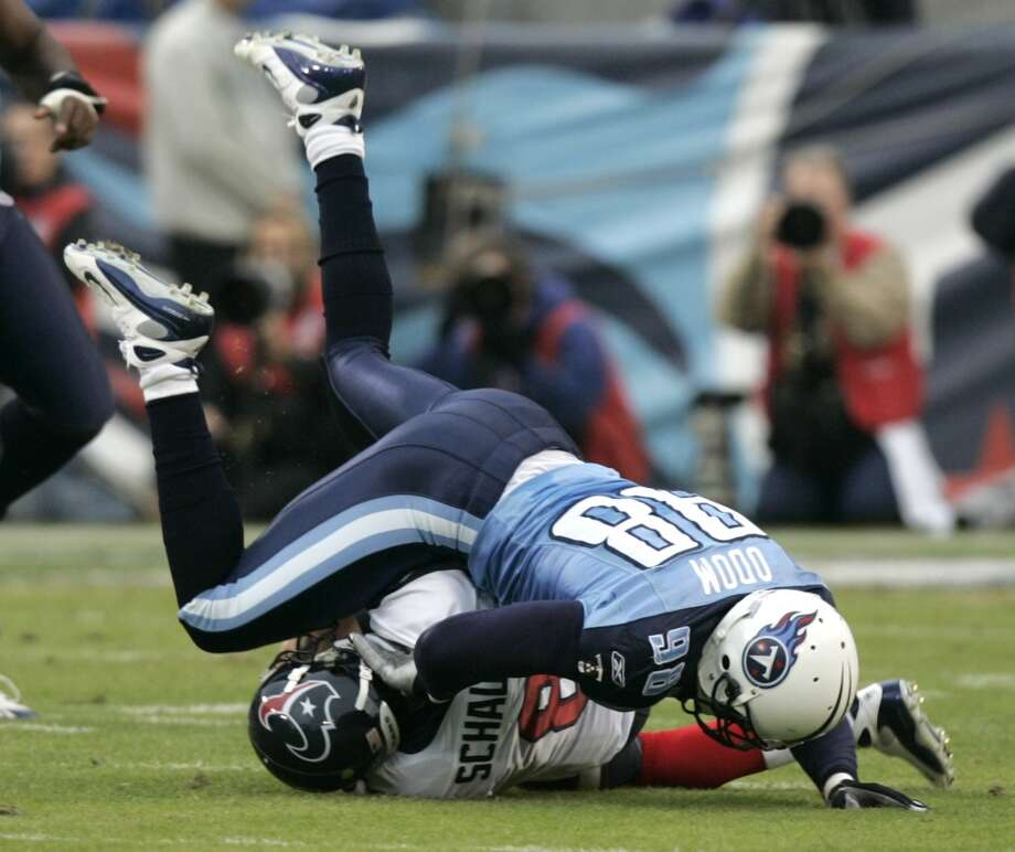 Titans 28, Texans 20 Dec. 2, 2007Matt Schaub is injured for the second consecutive game against the Titans and Vince Young takes his record to 3-0 as a starter against his hometown team. Photo: Brett Coomer, Houston Chronicle