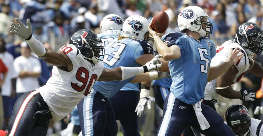 Titans 31, Texans 12 Sept. 21, 2008  Matt Schaub throws three interceptions and is sacked three times as the Texans aren't able to get anything going on the offensive side of the ball. Lendale White and Kerry Collins carry the Titans to victory. Photo: Brett Coomer, Houston Chronicle