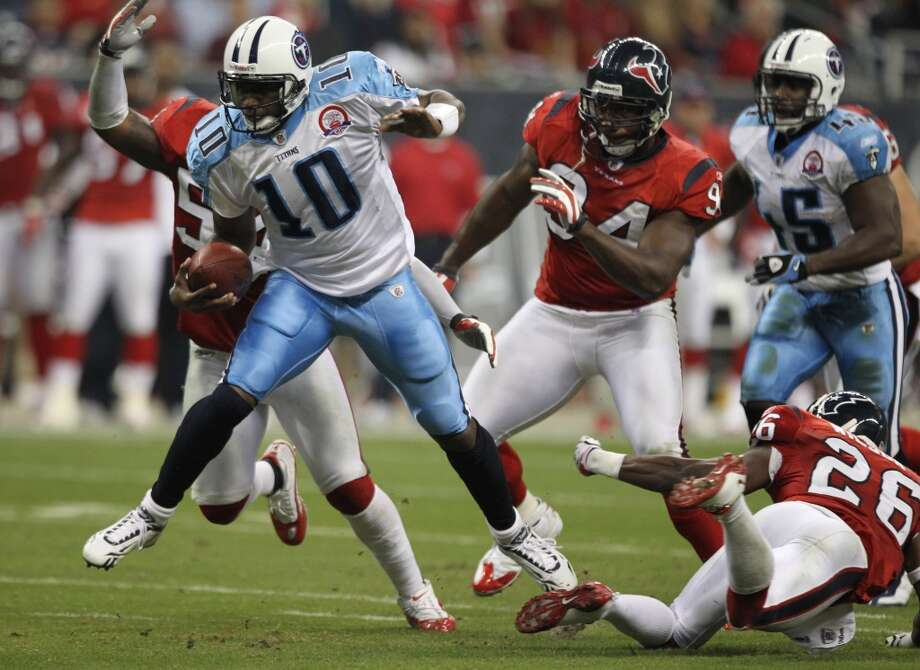 Titans 20, Texans 17 Nov. 23, 2009  Vince Young does it again for the Titans as Rob Bironas' 53-yard field goal with :47 left in the game seals the Texans' fate. Matt Schaub was sacked four times, but also threw for over 300 yards and two scores. Photo: Brett Coomer, Houston Chronicle