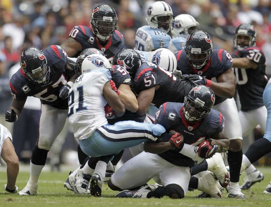Texans 20, Titans 0 Nov. 28, 2010While this game is memorable for the Andre Johnson - Cortland Finnigan fight, it is also the only shutout in the rivalry's history and the Texans were utterly dominant while holding the Titans (with Rusty Smith at the helm) to 162 yards of total offense. Photo: Karen Warren, Chronicle