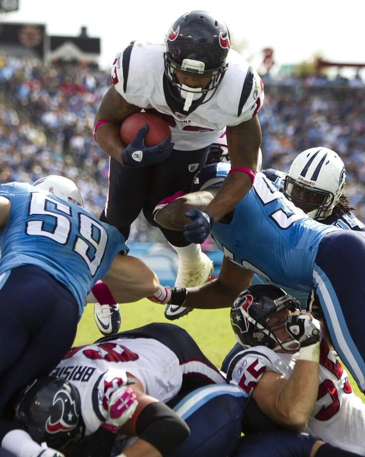 Texans 41, Titans 7 Oct. 23, 2011  In arguably one of Arian Foster's best games (115 yards rushing and 119 yards receiving including a 78-yard catch and run in the second quarter), the Texans handled the Titans easily in the 34-point rout in Nashville. Photo: Brett Coomer, Houston Chronicle