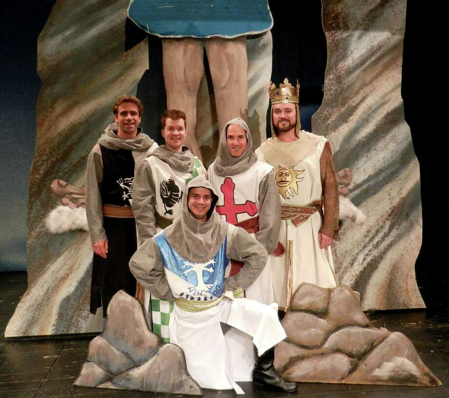 "The Knights of The Round Table in Curtain Call's season-opener, ""Spamalot,"" are from left, Joe Efferen, Richard Cummings, Mathew Martin (kneeling), Brian Meltzer and Brian Maher. The show plays at the Kweskin Theatre in Stamford, Conn., from Sept. 13 to Oct. 5. www.curtaincallinc.com Photo: Contributed Photo / Stamford Advocate Contributed"