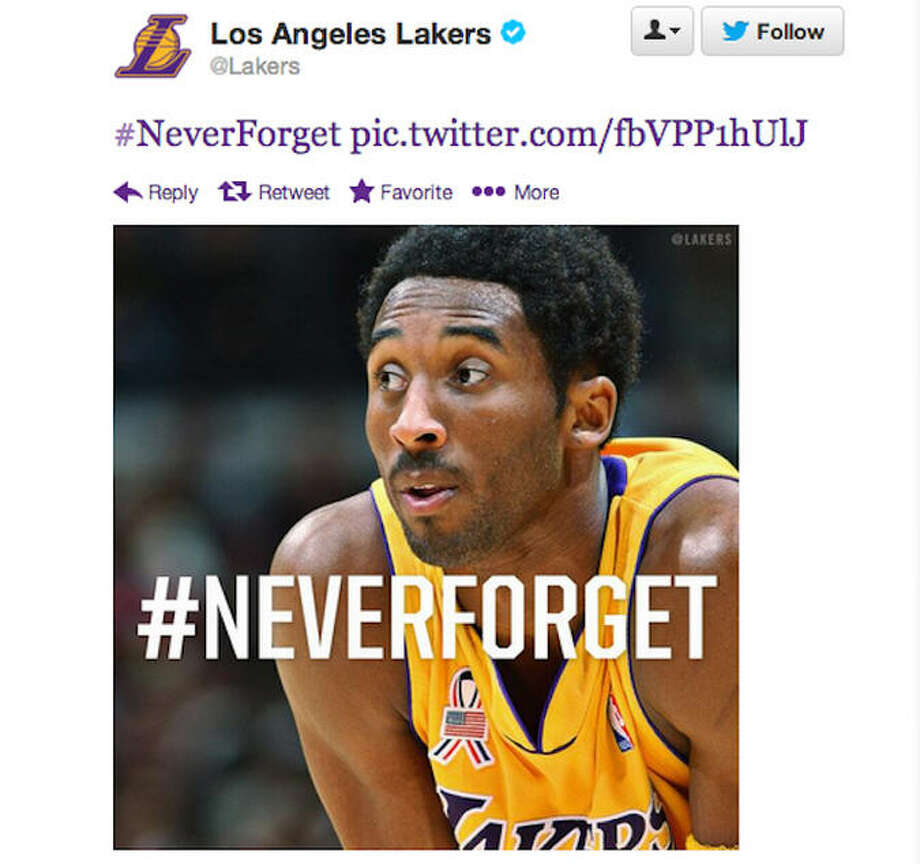 The Los Angeles Lakers tweeted this #neverforget image featuring Kobe Bryant.  On closer inspection, you can see Bryant is wearing an American flag remembrance patch on his jersey, but mostly everyone thought this was an incredibly tacky promotion.  The Lakers quickly took down the image and apologized.