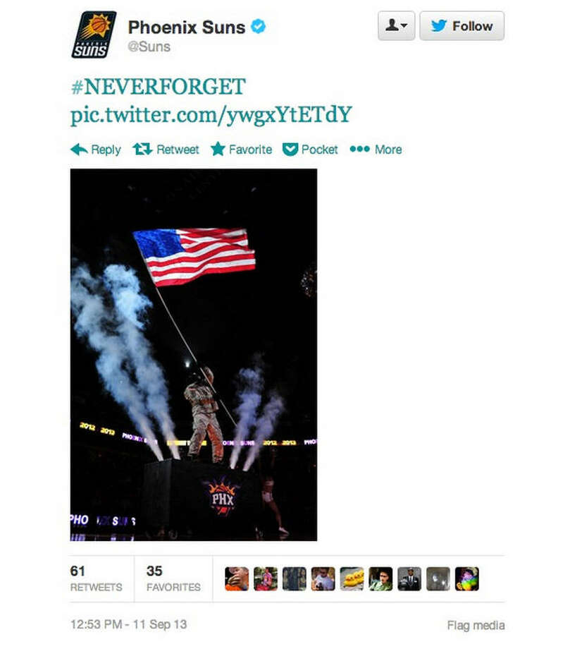 The Phoenix Suns also tweeted their own 9/11 remembrance photo, though not everyone was on board with their gorilla mascot waving an American flag around. The team took that photo down but has yet to apologize for it.