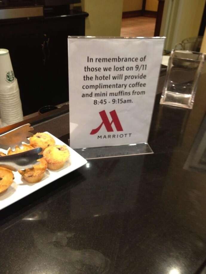 "One Marriot hotel offered free mini muffins and complimentary coffee in ""remembrance of those we lost on 9/11.""  Potential customers weren't impressed with the double packaging.  In a statement to the Huffington Post, Marriot claims the hotel acted on its own accord and apologized."