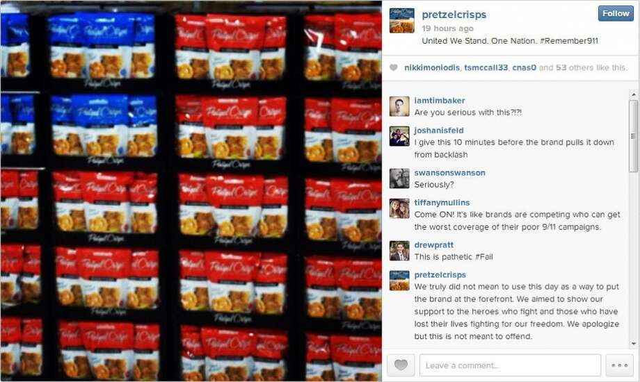 Pretzel Crisps attempt to honor those killed on 9/11 was lost in a sea of product placement.  Instagram users immediately lashed out at the company, before and after their apology.