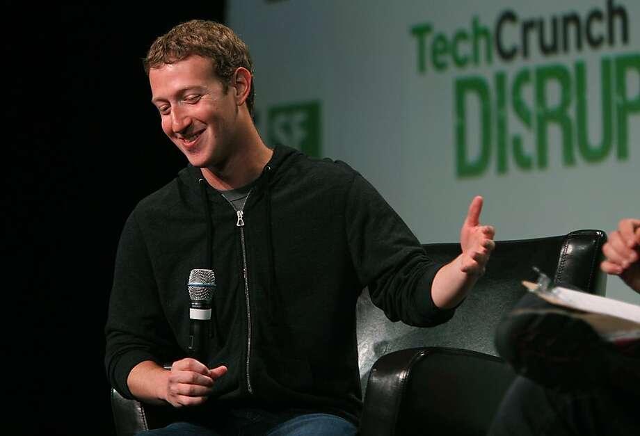 Facebook CEO Mark Zuckerberg speaks at TechCrunch Disrupt 2013  in San Francisco, California, on Wednesday, September 11, 2013. Photo: Liz Hafalia, The Chronicle