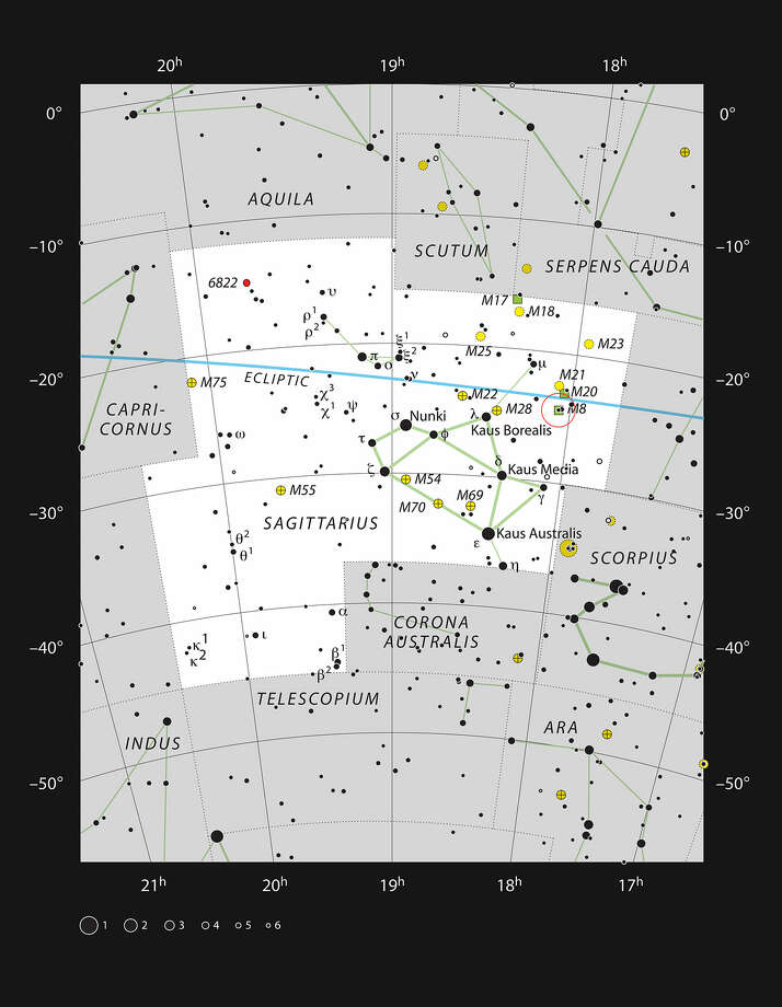 This chart shows the location of the star formation region Messier 8, also known as the Lagoon Nebula, within the constellation of Sagittarius (the Archer). This map shows most of the stars visible to the unaided eye under good conditions and Messier 8 itself is highlighted with a red circle on the image. This bright object is visible to the unaided eye as a small patch in the heart of the Milky Way and is an impressive sight in moderate-sized amateur telescopes. Photo: ESO / European Southern Observatory