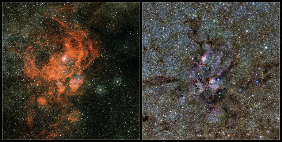 This image compares infrared and visible views of the Lobster Nebula (NGC 6357). The visible light image (left) was created from the Digitized Sky Survey 2 images. The new infrared image (right) was taken with the VISTA telescope at ESO's Paranal Observatory. In the infrared, the dust that obscures many stars becomes nearly transparent, revealing a whole host of new stars that are otherwise invisible. Photo: ESO / European Southern Observatory