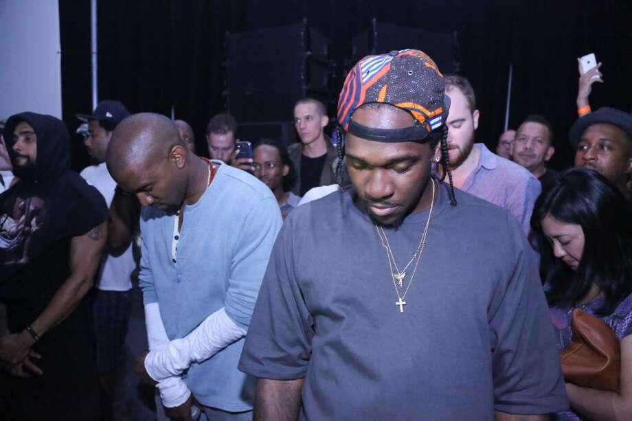 "(L-R) Kanye West and Pusha T attend the ""MNIMN"" listening event at Industria Superstudio on September 11, 2013 in New York City.  (Photo by Johnny Nunez/WireImage) Photo: Johnny Nunez, WireImage"