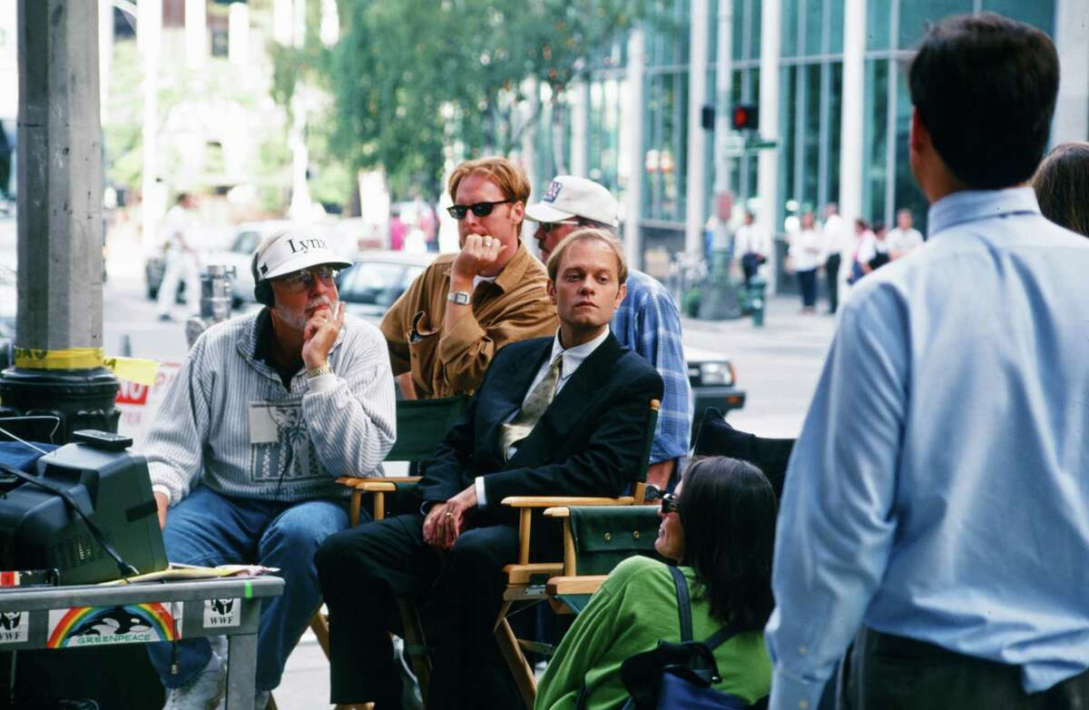 David Angell (creator), David Hyde Pierce pictured while shooting in downtown Seattle.