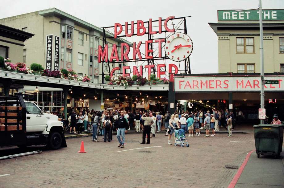 "Pike Place Market, pictured during the shooting of ""Fraiser."" Photo: Alice S. Hall, - / © NBC Universal, Inc."