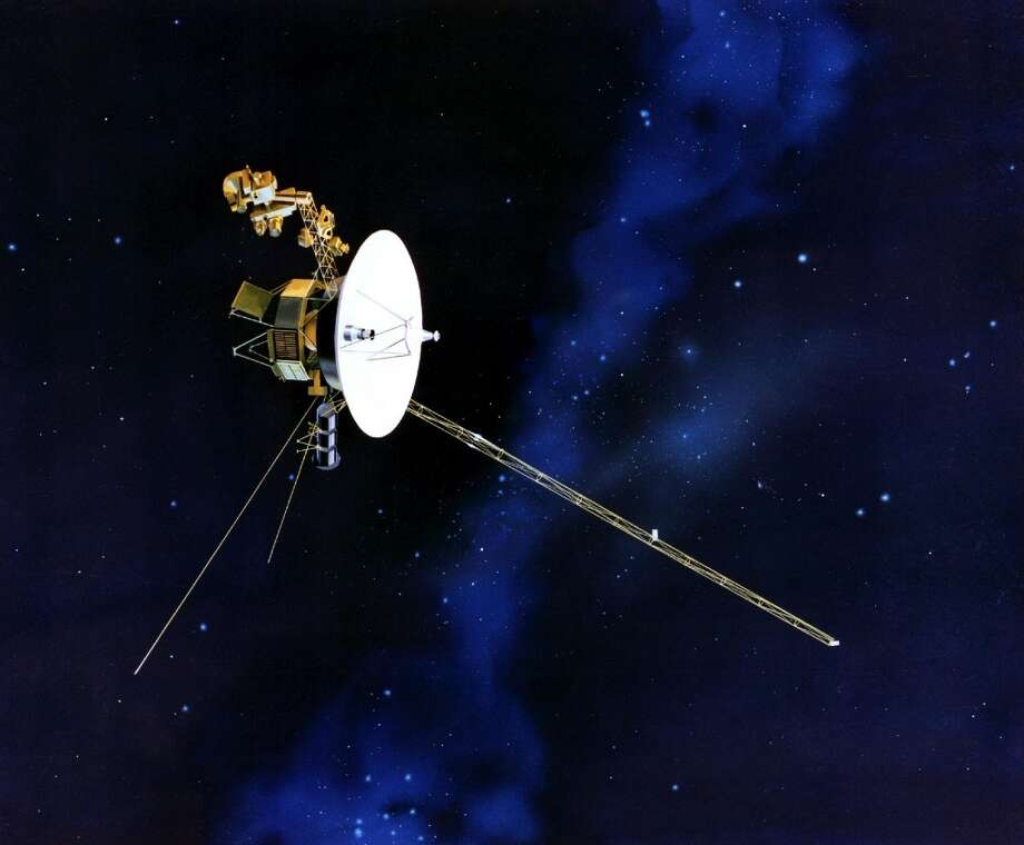 This artists rendering provided by NASA shows the Voyager spacecraft. Launched in 1977, the twin spacecraft are exploring the edge of the solar system. Thirty-five years after leaving Earth, Voyager 1 is reaching for the stars. Sooner or later, the workhorse spacecraft will bid adieu to the solar system and enter a new realm of space _ the first time a man-made object will have escaped to the other side. (AP Photo/NASA) Photo: Associated Press