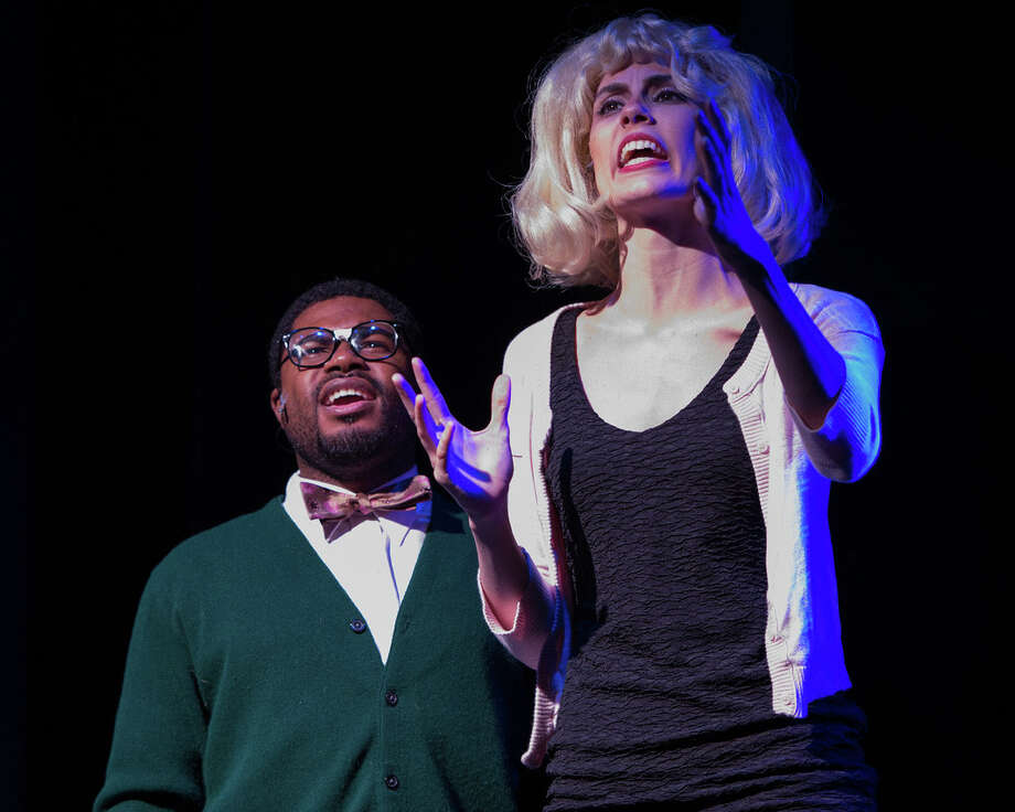 "Garth West is Seymour and Holly Martin is Audrey in the Bridgeport Theatre Company production of ""Little Shop of Horrors,"" running through Sept. 28 at the Downtown Cabaret Theatre in Bridgeport. Photo: Contributed Photo"