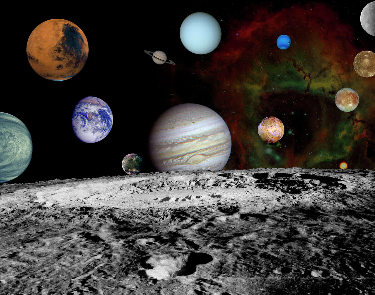 This montage of images taken by the Voyager spacecraft of the planets and four of Jupiter's moons is set against a false-color Rosette Nebula with Earth's moon in the foreground. Studying and mapping Jupiter, Saturn, Uranus, Neptune, and many of their moons, Voyager provided scientists with better images and data than they had ever had before or expected from the programme. Although launched 16 days after Voyager 2, Voyager 1's trajectory was a faster path, arriving at Jupiter in March 1979. Voyager 2 arrived about four months later in July 1979. Both spacecraft were then directed to Saturn with Voyager 1 arriving in November 1980 and Voyager 2 in August 1981. Voyager 2 was then diverted to the remaining gas giants, Uranus in January 1986 and Neptune in August 1989.