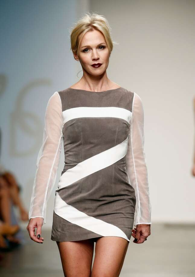 Actress Jennie Garth walks the runway at the Intrepid By AOC show during Nolcha Fashion Week New York Spring/Summer 2014 presented by RUSK at Pier 59 Studios on September 11, 2013 in New York City.  (Photo by Brian Ach/Getty Images for Nolcha Fashion Week) Photo: Brian Ach