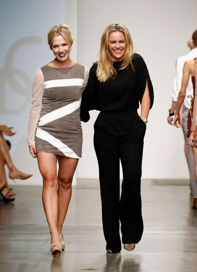 Actress Jennie Garth (L) and designer Aerin O'Connell walk the runway at the Intrepid By AOC show during Nolcha Fashion Week New York Spring/Summer 2014 presented by RUSK at Pier 59 Studios on September 11, 2013 in New York City.  (Photo by Brian Ach/Getty Images for Nolcha Fashion Week) Photo: Brian Ach