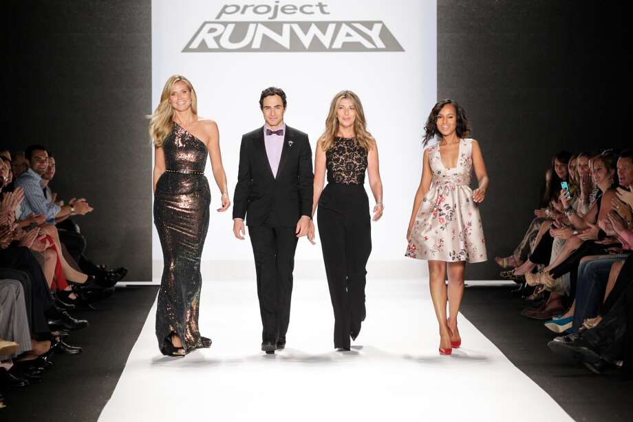 (L-R) Heidi Klum, Zac Posen, Nina Garcia and Kerry Washington walk the runway at the Project Runway show during Spring 2014 Mercedes-Benz Fashion Week at The Theatre at Lincoln Center on September 6, 2013 in New York City.  (Photo by Thomas Concordia/WireImage) Photo: Thomas Concordia, WireImage