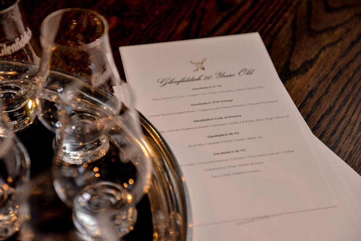 A five-course menu was paired with five prestigious Glenfiddich single-malt whiskies, including a $25,000 bottle, at Bar 1919.