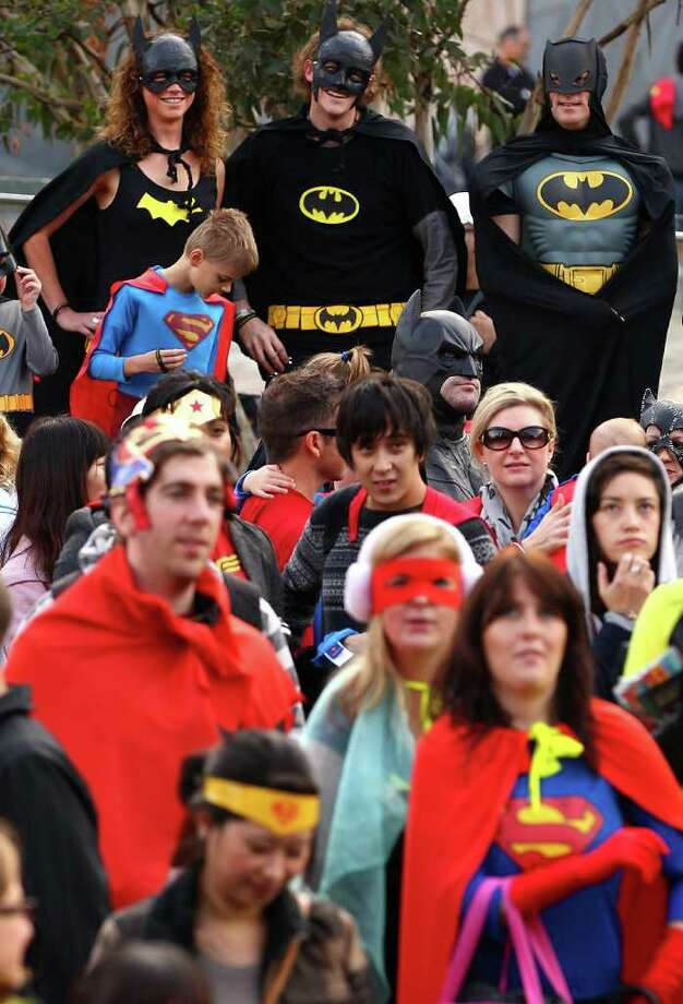 Melburnians dressed as superheroes participate in a Guinness World Record attempt for the most number of people dressed in superhero costume at Federation Square on May 29, 2010 in Melbourne, Australia. The event was organized to mark the 75th anniversary of DC Comics. Photo: Quinn Rooney, Getty Images / 2010 Getty Images