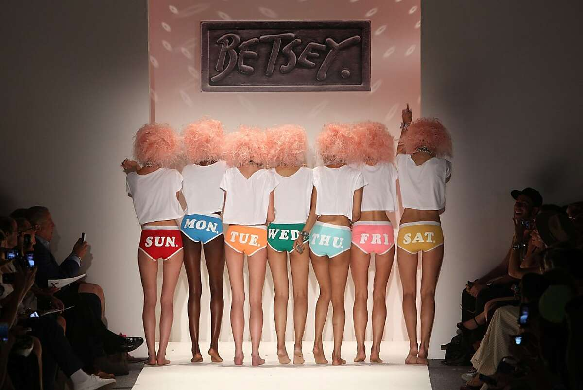 One pair for each day of the week: Models present the new Betsey Johnson underwear lineup at Mercedes- Benz Fashion Week in New York.