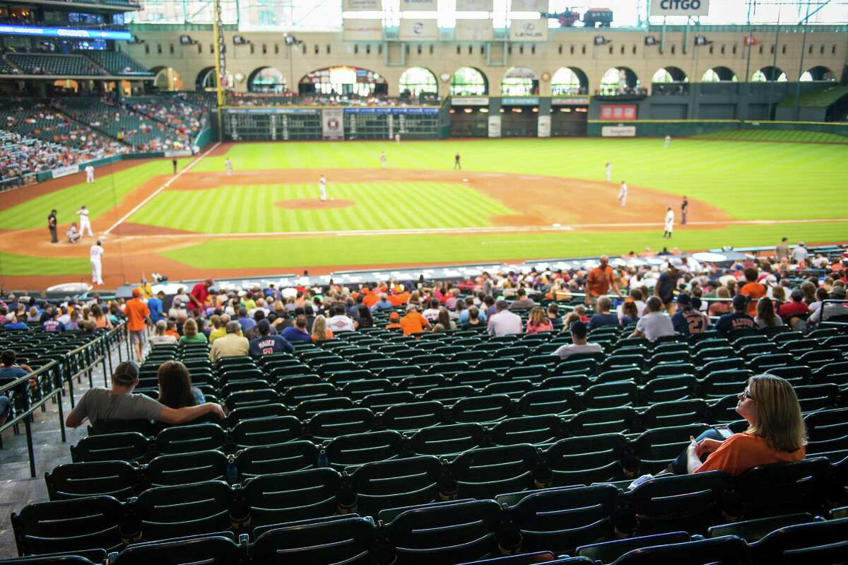 Astros fan Greis Perez takes in about 70 games at Minute Maid Park each season, and when the team is struggling as it is this year, the stadium can have an empty feeling to it.