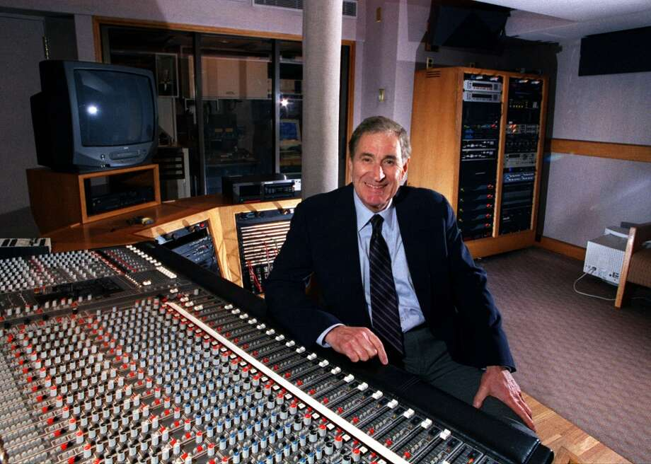 Ray Dolby, founder of Dolby Labs, at a mixing console in the firm's SF headquarters.   100 Potrero Avenue Photo: JERRY TELFER, The Chronicle/1998