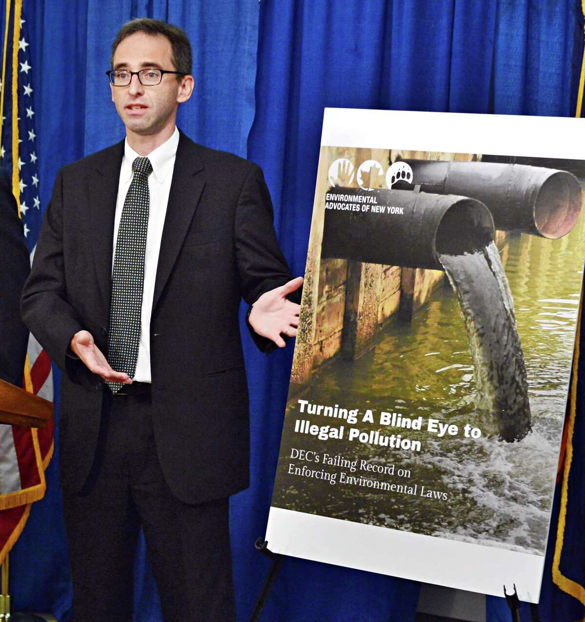 Environmental Advocates of New York's interim executive director Dave Gahl releases a report claiming Cuomo budget cuts have endangered the environment during a news conference Thursday Sept. 12, 2013, at the Capitol in Albany, NY. (John Carl D'Annibale / Times Union)