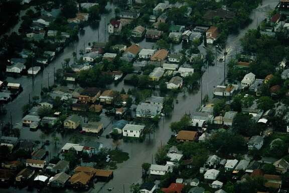 Floodwater covers a Galveston neighborhood after the passing of Hurricane Ike on Saturday, Sept. 13, 2008.