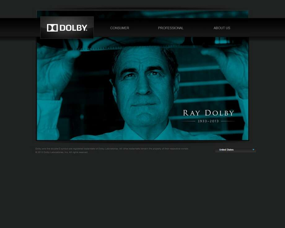 This screenshot shows the home page of Dolby Laboratories' website, which paid tribute to the company's late founder.