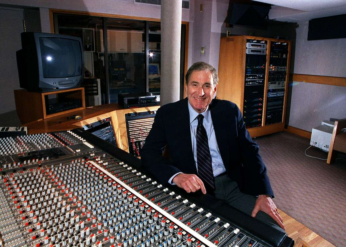 DOLBY_2/C/23SEP98/BU/JLT Ray Dolby, founder of Dolby Labs, at a mixing console in the firm's SF headquarters. 100 Potrero Avenue CHRONICLE PHOTO BY JERRY TELFER