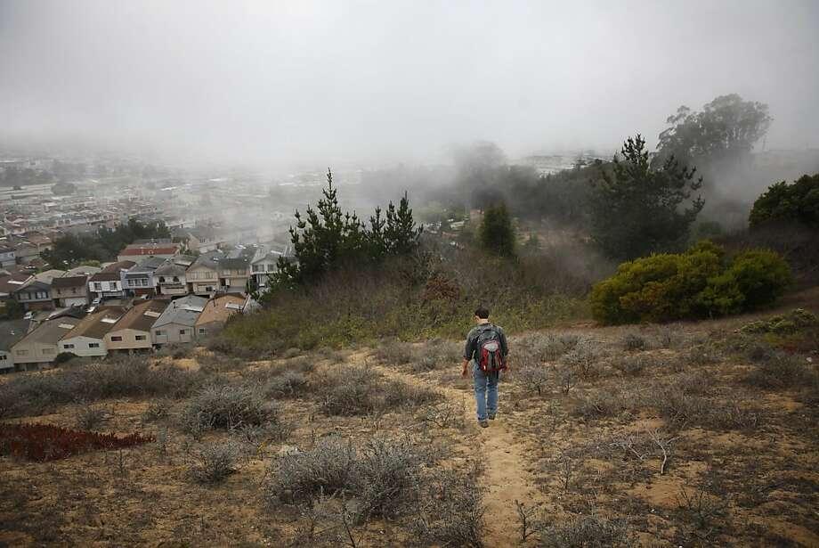 Joe Cannon, biologist and San Bruno Mountain Watch board member, walks along the ancient dunes on the mountain. Photo: Lea Suzuki, The Chronicle