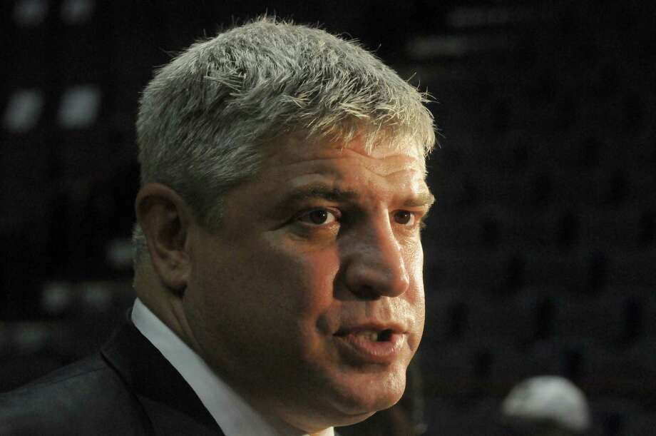 Siena head basketball coach Jimmy Patsos talks with the media during Siena's annual Sneak Preview, where fans get to meet and greet the men's and women's teams at the Times Union Center on Thursday Sept. 12, 2013 in Albany N.Y. (Michael P. Farrell/Times Union) Photo: Michael P. Farrell / 00023841A