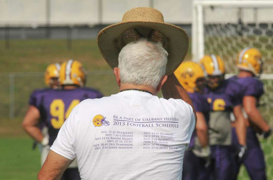 UAlbany head football coach Bob Ford works with his team during practice  Wednesday afternoon, Sept. 11, 2013, in Albany, N.Y. (Michael P. Farrell/Times Union) Photo: Michael P. Farrell / 00023827A