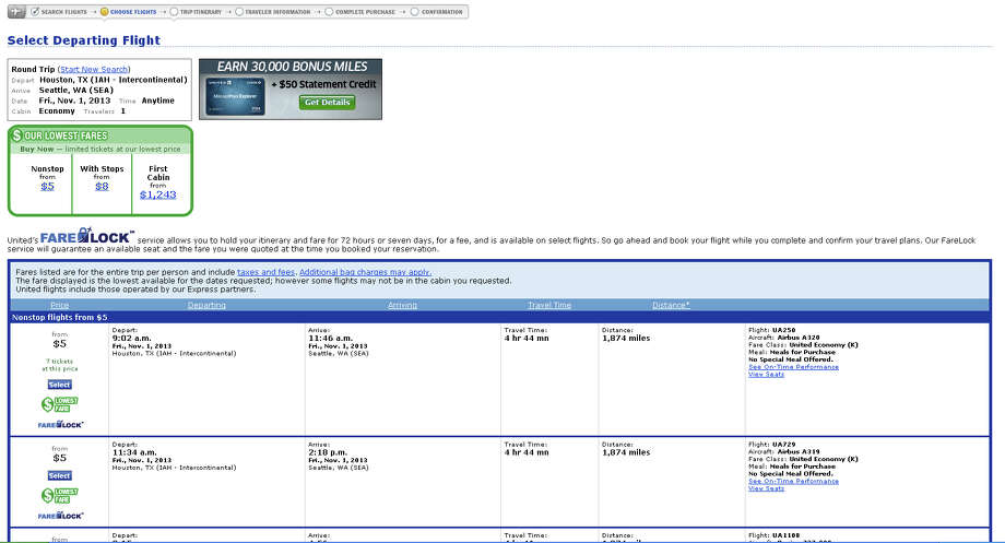 A computer glitch had United Airlines tickets selling for as little as $5 online on Thursday, Sept. 12. The issue was resolved after two hours. This is a screenshot from united.com showing one of the fares. Photo: Erin Mulvaney