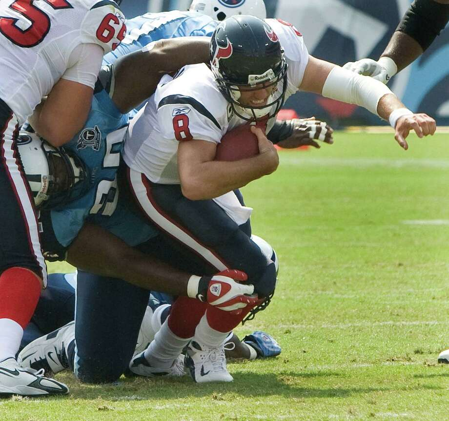 Albert Haynesworth -- Fat Albert stomped on Matt Schaub as a Titan, then did it again as a Buccaneer in 2011, ending Schaub's season. Photo: Brett Coomer, Houston Chronicle / Houston Chronicle